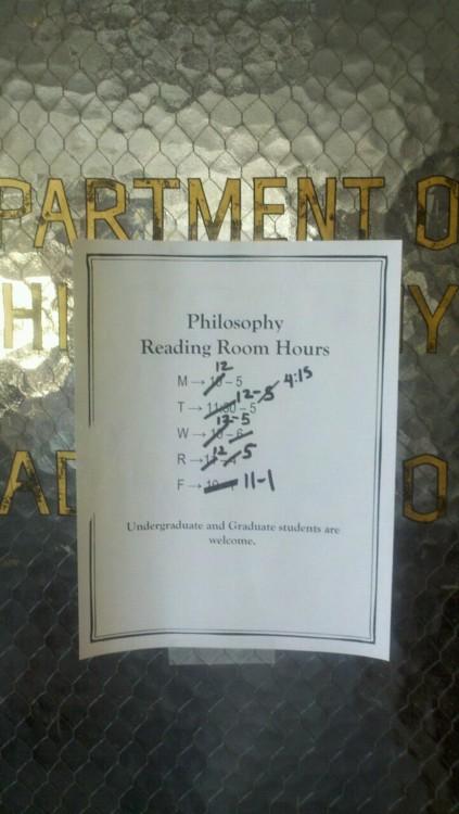 UCLA's Philosophy Reading Room Schedule