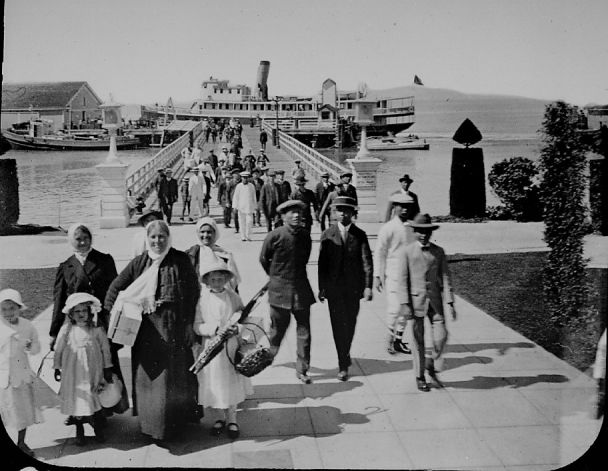 "The Nations Have Come to Us - ""Immigrants arriving at Angel Island c.1920"""