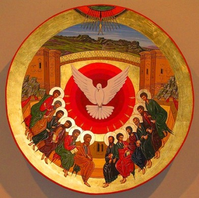 The Holy Spirit descends upon the apostles during Pentecost.