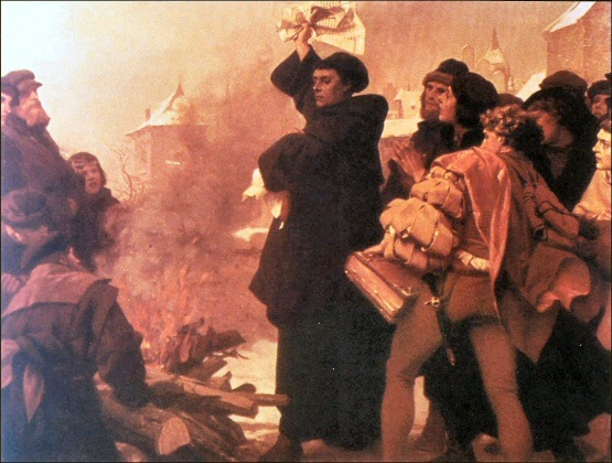 No Martin Luther! Don't Burn that Old Testament! Oh you aren't... its a Papal Bull. Okay proceed with the burning.